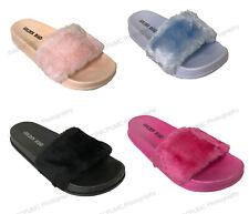 Womens Flip Flops Soft Faux Fur Fuzzy Slip on Sandals Slide Slippers Flat Colors
