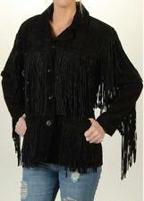 Womens Western Coat Stylish Suede Leather Cow-Lady Fringes Native Fashion Jacket