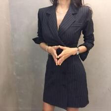 Women Double-breasted Lapel Suit Blazer Dress Slim Fit Coat Dress