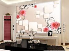3D Quadrati fiori Parete Murale Foto Carta da parati immagine sfondo muro stampa