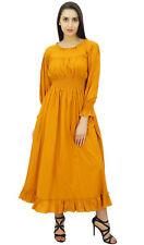 Bimba Women Mustard Yellow Cotton Smocked Waist Long Maxi Dress Boho Chic Summer