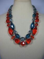 s187) Modeschmuck Halskette Hals Kette Glasperlen Optik Koralle oder Petrol 22cm