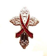 Burgundy Awareness Ribbon Pin Religious Cross Cancer Cause Church Inspire New