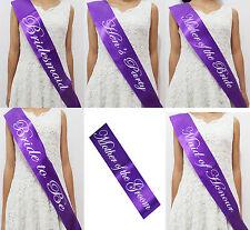 Purple -Hens Night Party Satin Sashes Bride Bridesmaid Maid of Honour New - P02