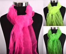 NEU Schal  leicht Tuch Tüll  Farbe Pink Neon Gelb Grün JGA Karneval Fasching