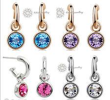 Pink/Blue/Purple/Clear/Crystal Drop Hoop Earring/RGE244/259/109/564