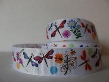 "Grosgrain Ribbon, Dragon Flies & Flowers on White, Wild Flowers, Dragon Fly 7/8"""