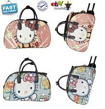 New Womens Kids Cute Hello Kitty Print Canvas Holdall Bag Weekend Bag Travel Bag
