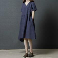Women Cotton Linen Shirt Dress Plaid V Neck Short Sleeve A Line Pocket Dresses
