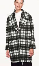 LADIES WOOL JACKET COAT BLACK WHITE OVERSIZED COAT LUXURY PLUS UK 18 20 22 SALE