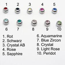 8 Stück Ersatzkugel Piercing Kugel Edelstahl Schraubkugel Stein Kristall