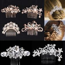 Women Bridal Headpiece Rhinestone Hair Comb Pearl Crystal Wedding Party Decor