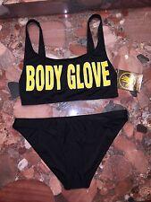 NWT $140 Body Glove Black Logo 1989 The Look Bikini Swimsuit 2pc Set Women's