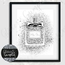 Fashion PRINT SILVER Faux Glitter miss diva Perfume beauty room OFFICE Art