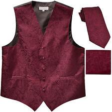 New Men's Formal Vest Tuxedo Waistcoat_necktie set paisley wedding prom burgundy