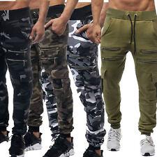 Herren Jogginghose Camouflage Sporthose Trainingshose Hose Zipper NEU 829