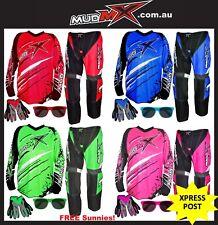 MX MOTOCROSS BMX(Pants+Jersey+Gloves) Kids Youth Junior Dirt Bike Gear -4 Colors