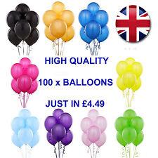 100 PLAIN BALONS BALLOONS HELIUM & AIR BALLOONS Quality Party Birthday Wedding