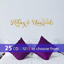 RELAX and UNWIND swirls wall art sticker decal bathroom beauty hair salon spa