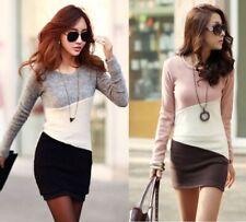 Damen Dreifarbige Tunika Shirt Kleid Minikleid Longshirt Bluse Japan Style