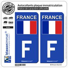 2 Stickers autocollant plaque immatriculation : F France - Drapeau (Côté droit)