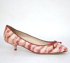 $920 New Bottega Veneta Python Leather Heel Pump w/Bow Beige Red 337834 8870