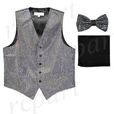 New formal Men Sequins Silver Tuxedo vest Waistcoat_bowtie & black hankie party