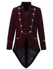 Mens Handmade Steampunk Tailcoat Jacket Goth Victorian Velvet Coat Maroon