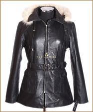 Beyonce Negro Blanco con capucha señoras Real suave piel de cordero cuero chaqueta con capucha