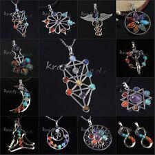 1x Silver Plated 7 Stone Chakra Healing Point Reiki Energy Stone Pendant Jewelry