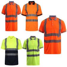 Mens Hi Viz Vis Tape Work T-Shirts High Visibility Collared Neck Reflective Top