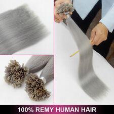 7A 16-22Inch Sliver Grey U/Nail Fusion Keratin Remy Human Hair Extensions 1.0g/s