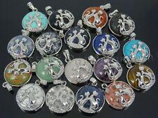 Natural Gemstone Reiki Chakra Cats Healing Pendant Charm Beads Silver Plated