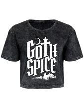 Goth Spice Women's Grey Acid Wash Oversized Cropped T-shirt