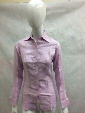 Respaldo Puro Lino Rosa camisa de mangas largas doble puño £ 25 Size UK 6 - 14 A92