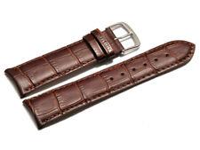 Bracelet montre cuir de veau bouts arrondis marron foncé 18, 19, 20, 22 mm NEUF
