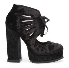 ORIGINALI JEFFREY CAMPBELL JULIETA BLACK VELVET sandali scarpe donna tacchi nere