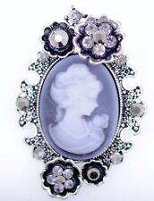 Hecho A Mano Elegante victoriana Lady camafeo De Bronce Plateado Broche Pin Nuevo En Bolsa De Regalo