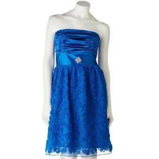 Royal Blue Rosette Satin My Michelle Party Dress JUNIOR Fancy NEW Rhinestone Pin