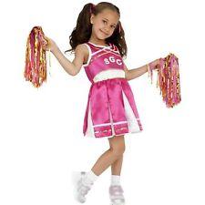 High School Cheerleader Pom Poms Pink Kids Childs Girls Fancy Dress Costume