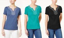 Women's Short Sleeve Blouse Karen Scott Cotton Split-Neck Studded Top New