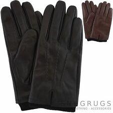HOMME Haute Qualité Gants cuir brun noir épais DOUBLURE POLAIRE & tricoté