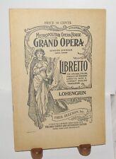 Metropolitan Grand Opera Libretto Lohengrin Fred Rullman Edward Johnson German