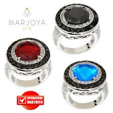 Anello a sigillo tondo in argento 925 con zirconi bianchi,neri,azzurro e rosso