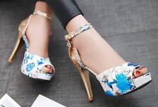 Sandali donna Plateau blu fiori stiletto tacco 11.5 cm eleganti comodi 8340
