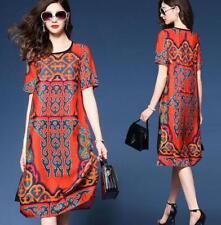 Stylish Womens Short Sleeve Ethnic Summer Floral Baggy Silk Blend Casual Dress