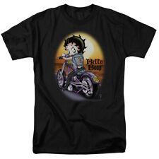 Betty Boop Wild Biker Riding Chopper into Sunset Jean Jacket Tee Shirt S-3XL