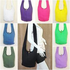 SALE Thai Hippie Hobo Sling Shoulder Crossbody Bag Purse Plain Color Cotton Boho