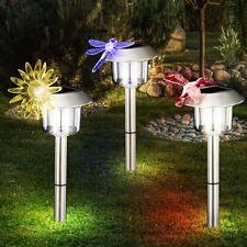 LED Solar Steck Leuchte Kolibri Libelle Sonne Farbwechsel Außen Lampe Edelstahl