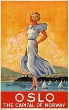Tx247 Vintage 1930's Oslo capital de Noruega viajar Cartel volver a imprimir a1/a2/a3 / A4